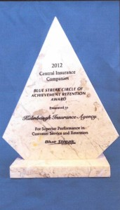 2012 superior performance in customer service and retention award from Central Insurance Companies